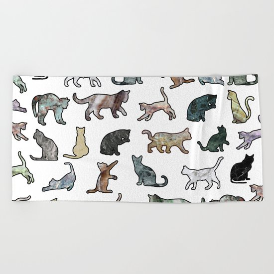 Cats shaped Marble - White Beach Towel