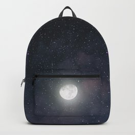 Glowing Moon on the night sky through pink clouds Backpack