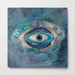 Evil Eye Amulet Agate and gold Metal Print