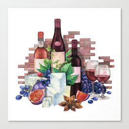 Watercolor wine glasses and bottles decorated with delicious food Canvas Print