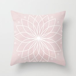 Mandala on Pink Watercolor Background Throw Pillow