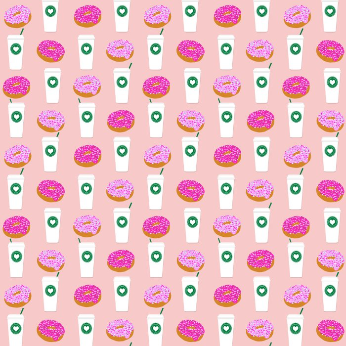 Coffee and donuts cute latte breakfast food pattern print pastel pink girly coffee cell phone cases Duvet Cover