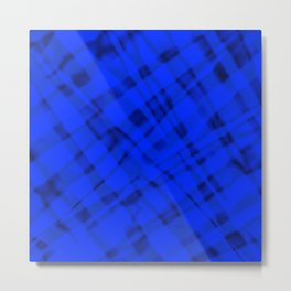 Bright metal mesh with blue intersecting diagonal lines and stripes. Metal Print
