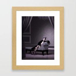 Beautiful courtesan in her lavender salon Framed Art Print