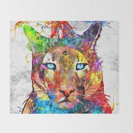 Puma Watercolor Grunge Throw Blanket
