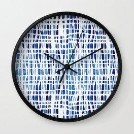 Shibori Braid Vivid Indigo Blue and White Wall Clock