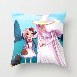 Dorthy and the Good Witch of the North Throw Pillow