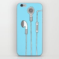 headphones iPhone & iPod Skins featuring HEADPHONES by R.Bongiovani