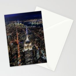 Empire State Building NYC Skyline Landscape Painting by Jeanpaul Ferro Stationery Cards