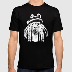 Funky Llama Mens Fitted Tee Black LARGE