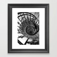 Black and white photography Spiral staircase Old classic architecture photo Office decor Framed Art Print