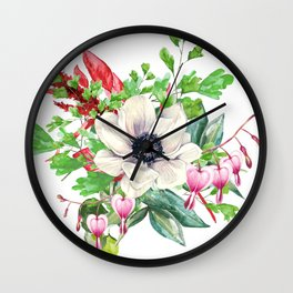 Gentille watercolor handpainted clipart, floral, flower, design, stylish, wedding, invitation Wall Clock