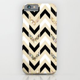 Black, White & Gold Glitter Herringbone Chevron on Nude Cream iPhone Case