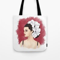 selena gomez Tote Bags featuring Selena by Quinn