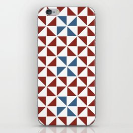 Pinwheel Quilt Pattern in Red and Blue iPhone Skin
