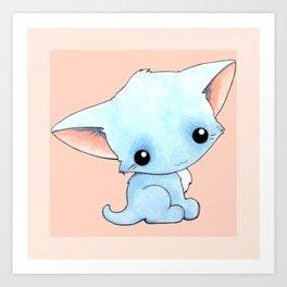 Little Blue Kitty Art Print
