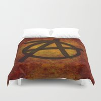 sons of anarchy Duvet Covers featuring Distressed Anarchy by Bruce Stanfield