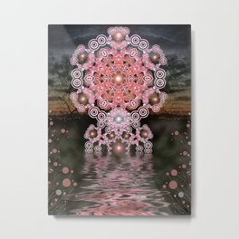 Sunset Mandala Hexagonia (Geometric Remix) Metal Print