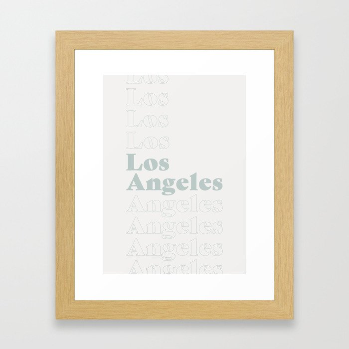Los Angeles Type - Blue Framed Art Print