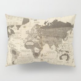 Moral And Political Map Of The World 1845 Pillow Sham