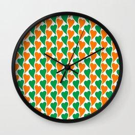wavy Irish hearts Wall Clock