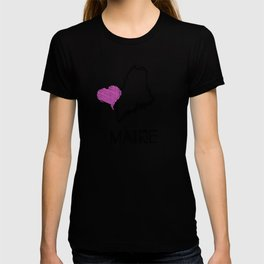 Love Maine State Sketch USA Art Design T-shirt
