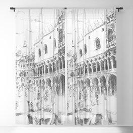 Sketch of San Marco Square in Venice Sheer Curtain