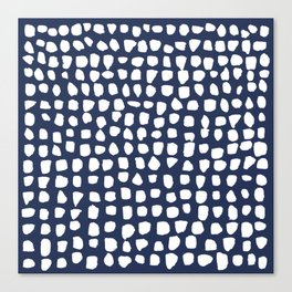 Dots / Navy Canvas Print