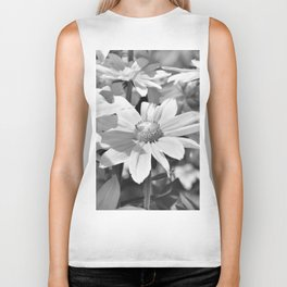Flower black and white 0148 Biker Tank