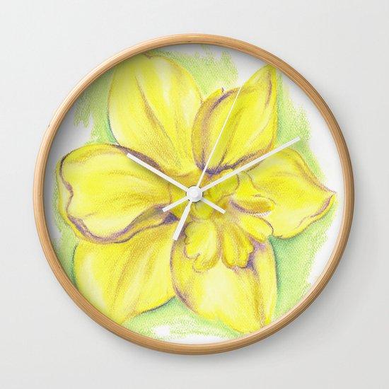 Yellow Daffodil Blossom Wall Clock