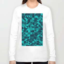 The bottom of the ocean - Random triangle pattern in shades of blue and turquoise  Long Sleeve T-shirt