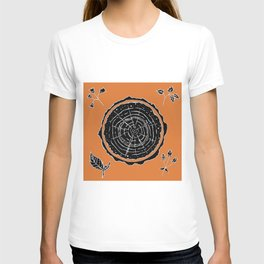 Autumnal Tree Trunk Cross Section with Wildflowers Design T-shirt