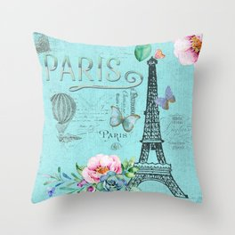 Paris - my blue love Throw Pillow