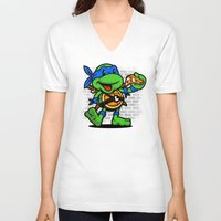 leonardo V-neck T-shirts featuring Vintage Leonardo by harebrained
