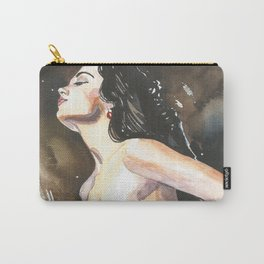 Original watercolor painting NUDE EROTIC GIRL posing Autumn Mood Carry-All Pouch