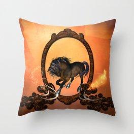 Horse in a frame Throw Pillow