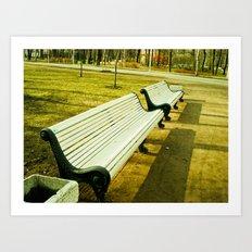 Cold white bench. Art Print