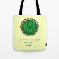 lotr Tote Bags featuring Bag End by Cat Vickers-Claesens