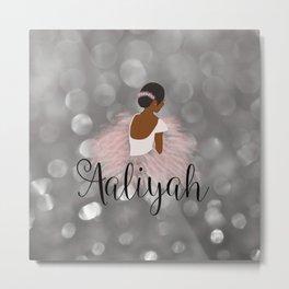 African American Ballerina Dancer Personalized Name AALIYAH Metal Print