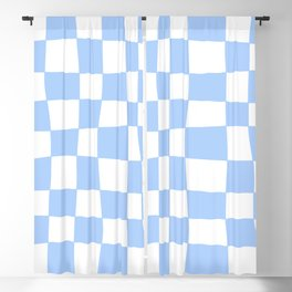 Hand Drawn Checkerboard Pattern (sky blue/white) Blackout Curtain
