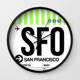 SFO San Francisco Luggage Tag 3 Wall Clock