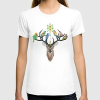 yetiland T-shirts featuring deer birds by Manoou