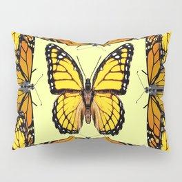 YELLOW & ORANGE MONARCH BUTTERFLIES PATTERNED ART Pillow Sham