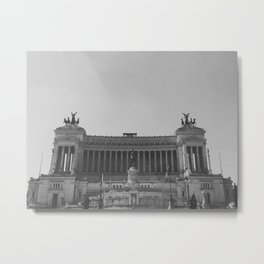Black & white photo, Victor Emmanuel II Monument, Altar of the Fatherland, Rome photography Metal Print