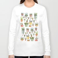 succulents Long Sleeve T-shirts featuring Potted Succulents by Brooke Weeber