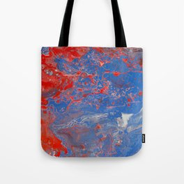 Fluid Art Acrylic Painting, Pour 13, Blue, Red & White Blended Color Tote Bag