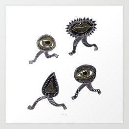 running surreal eyes mouth and nose creatures Art Print