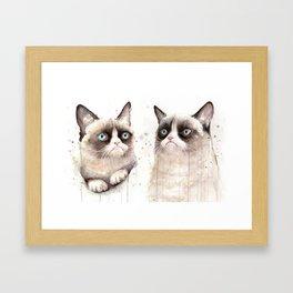 Grumpy Watercolor Cats Framed Art Print
