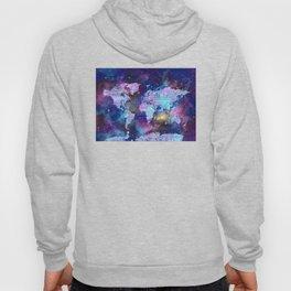 world map galaxy purple Hoody