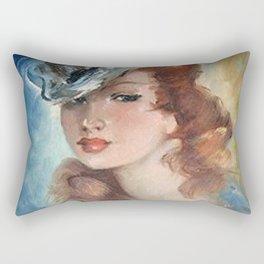 Belle Jeune Femme à Paris, female portrait painting Rectangular Pillow